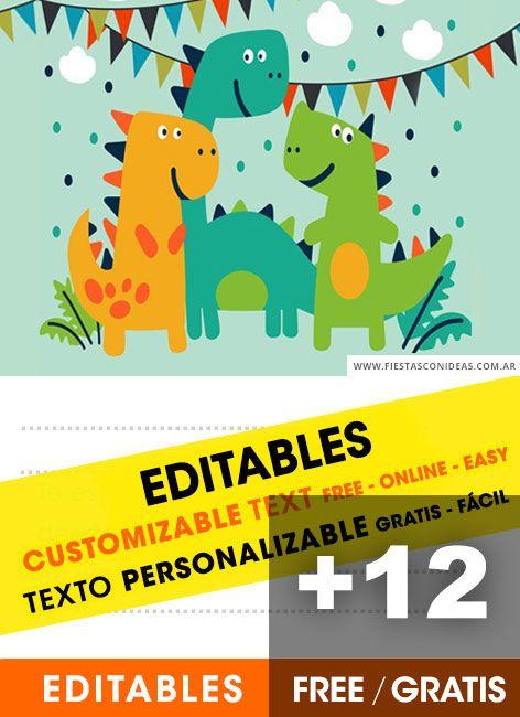 12 Invitaciones De Dinosaurios Para Niños Gratis Free