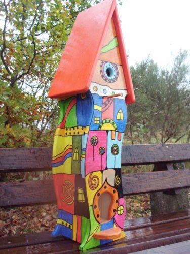 Vogelvilla Vogelhaus Nistkasten Hundertwasser Stil Vogelhaus Bemalen Vogelhaus Nistkasten