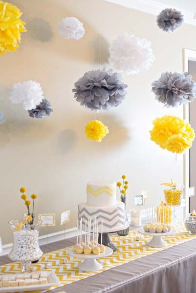 Yellow And Grey Chevron Baby Shower...the Baby Bottle Is Super Cute Next To  The Frame | Shower | Pinterest | Chevron Baby Showers, Grey Chevron And Baby  ...