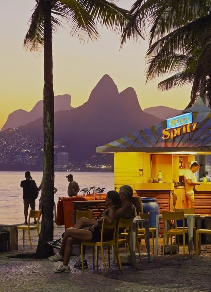 Brazil, City of Rio de Janeiro, Beach Bar at the Ipanema Beach with a view of the. 10 inch Photo. Brazil, City of Rio de Janeiro, Beach Bar at the.