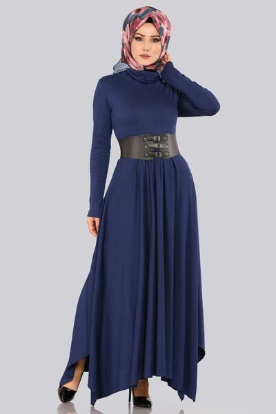 Modaselvim Elbise Bogazli Elbise Knz3190 S Indigo Colorful Dresses Dresses Fashion