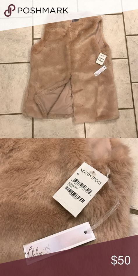 Faux Fur Vest from Nordstrom Tan faux fur vest. New with tags Chelsea28 from Nordstrom Jackets & Coats Vests