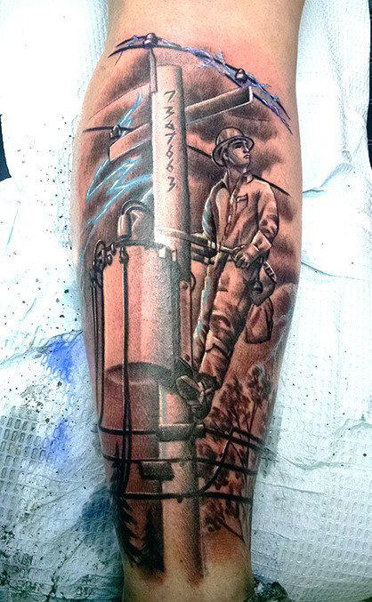 Lineman Tattoos On Arm : lineman, tattoos, Lineman, Tattoos, Electrical, Design, Ideas, Tattoo,, Guys,, Colorful, Sleeve