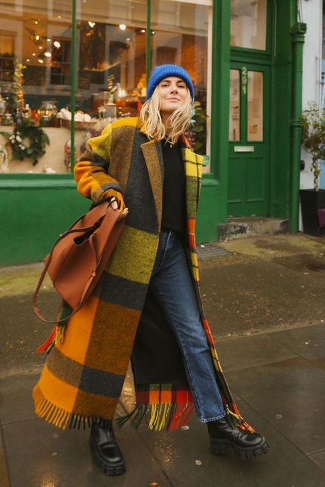 amazing plaid coat in yellow green and orange pattern, blue beanie hat and a plaid coat in yellow orange and olive green colors, #plaidcoat #plaid #beaniehat #bluehat