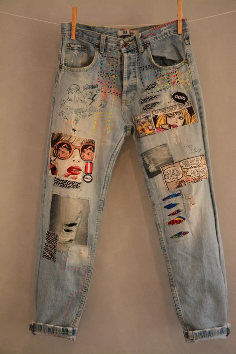 All SIZES High Waist Destroyed Boyfriend Jeans Distressed and Totally Patched Jeans Women's size 6 High Waisted Mom Jeans// all sizes by MyQueensWish on Etsy