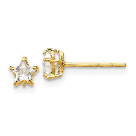 14K Yellow Gold Madi K Childrens 4 MM CZ Stud Post Stud Earrings