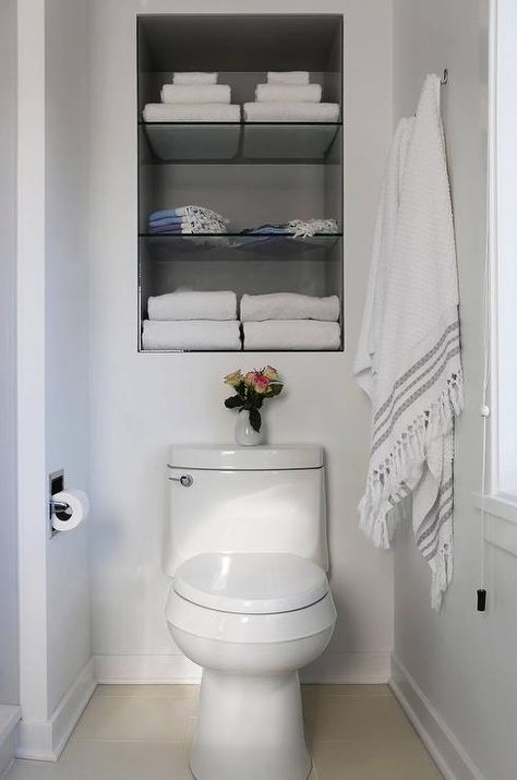 Fantastic Bathroom Features Recessed Shelves Over The Toilet