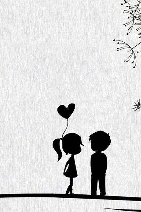 Black And White Little Lovers Art Drawn #iPhone #4s #wallpaper