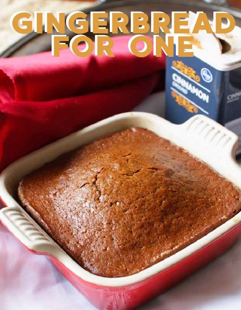 This gingerbread recipe is perfect for the holidays or any time of the year! It's a small batch recipe that delivers a perfectly spiced small loaf of gingerbread. So easy to make and the perfect amount to serve one or two people.