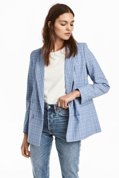 Jacket Light Blue Checked Ladies H M 1 Light Blue Shirt Outfit Blazer Outfits For Women Jacket Outfit Women