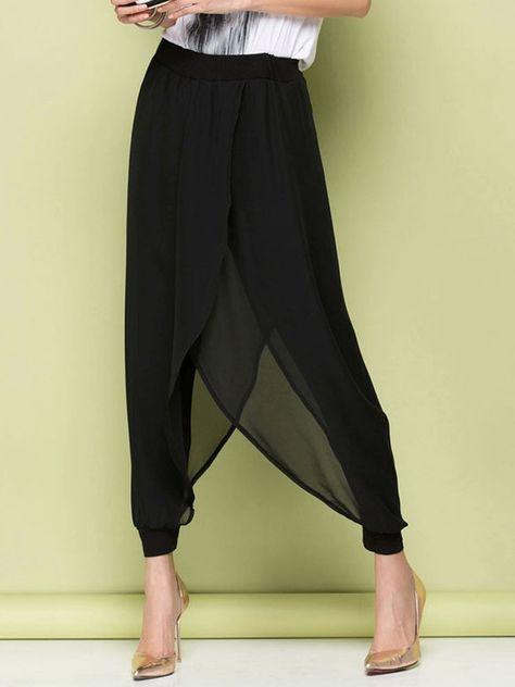 894f3a09c8 Cheap Para mujer de la gasa elegante negro pantalones Harem flojos mujeres  de verano Ethereal moda Baggy Hippie