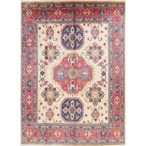 Kazak Oriental Hand Knotted Wool Pakistani Area Rug 10 11 X 7 11 10 11 X 7 11 Ivory Oriental Area Rugs Area Rugs Traditional Rug Weaving