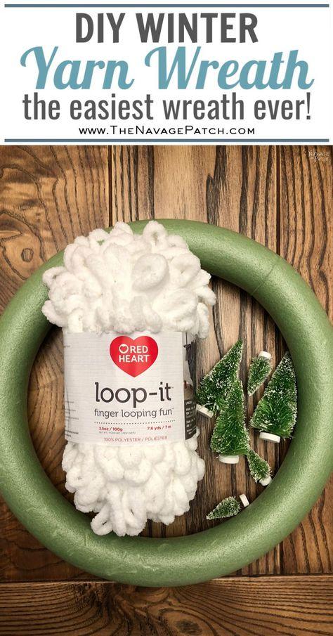 Loop Yarn Wreath - An EASY DIY Winter Wreath! - The Navage Patch DIY Winter Loop Yarn Wreath The easiest DIY winter wreath ever How to make a loop yarn wreath in under 30 minutes DIY upcycled Christmas decorations Repurposed Loopity loop yarn Wreath Crafts, Diy Wreath, Christmas Projects, Christmas Fun, Holiday Crafts, Christmas Ornaments, Diy Garland, Diy Christmas Yarn Wreath, Wreath Ideas