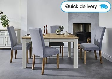 Angeles Rectangular Extending Dining Table And 4 Fabric Dining