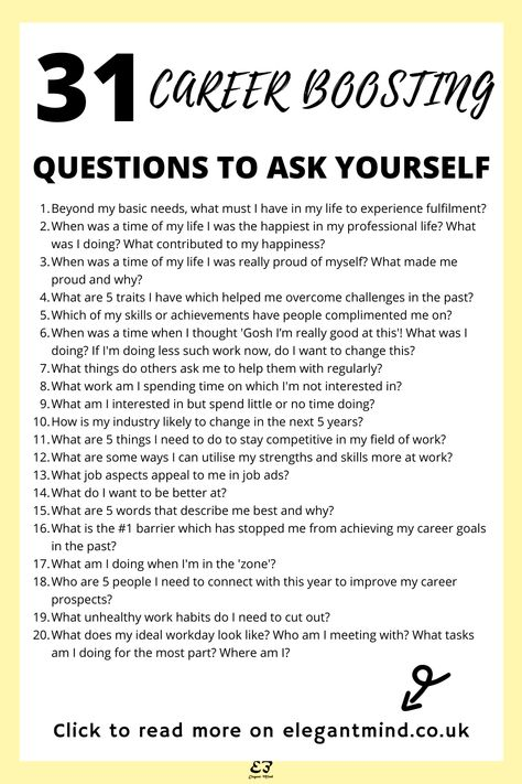 These 31 career questions to ask yourself in 2021 will help you achieve personal growth and self-improvement! Click to download the 31 career journal prompts questions free and boost your career today!