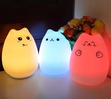 Veilleuse Lampe Chat Silicone Led Lumière Tactile Pour