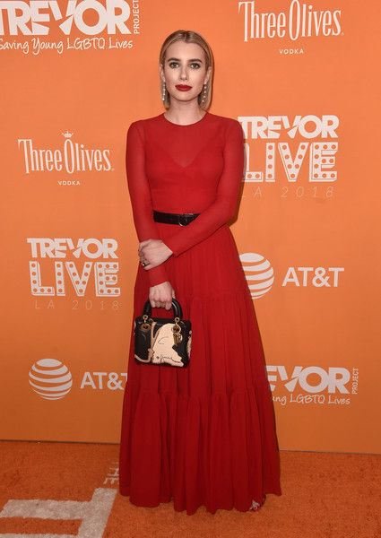 Emma Roberts attends The Trevor Project's 2018 TrevorLIVE Gala at The Beverly Hilton Hotel.