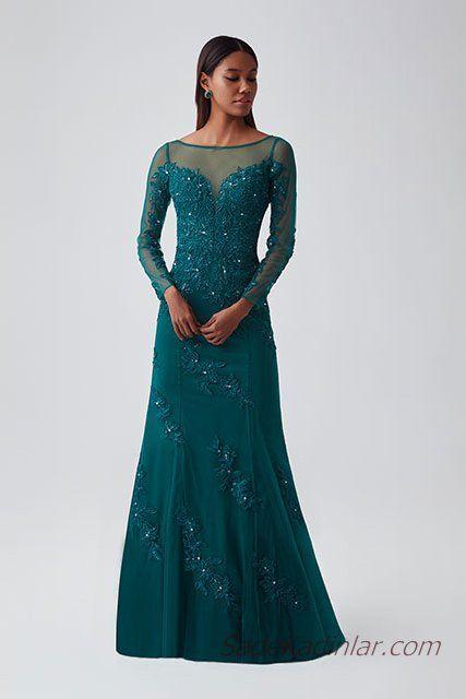 2019 Abiye Elbise Modelleri Zumrut Yesili Uzun Kayik Yaka Uzun Kollu Boncuklu Elbise Modelleri Elbise Uzun Kollu