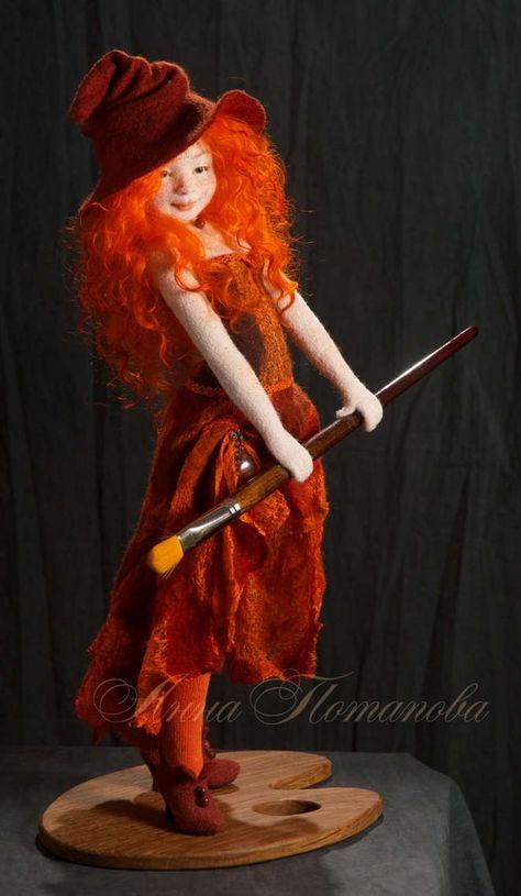 Witch Agnia Needle felted doll Art Doll Autor doll | Etsy