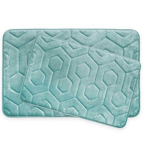 Bounce Comfort Hexagon Memory Foam 2 Piece Bath Mat Set Bath Mat Sets Memory Foam Bath Mats Bath Mat