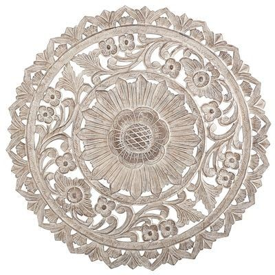 This Carved Floral Medallion Quietly Commands Attention The Intricate Detailing The Antique Whitewash Fini Carved Wall Decor Wall Medallion Medallion Wall Art