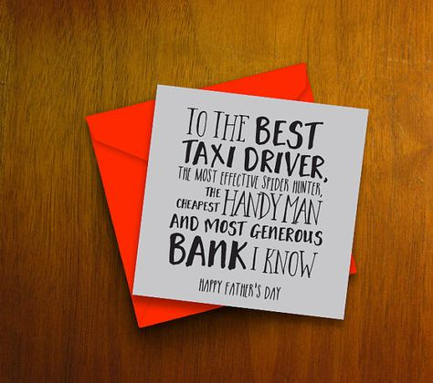 Funny Fathers day card | The best taxi driver, handy many, bank | Greetings card for dad on Fathers day