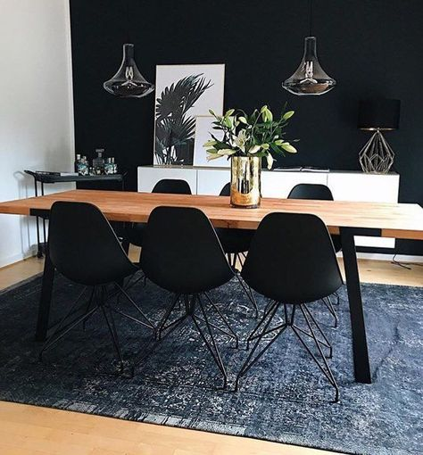 31 Of The Most Brilliant Modern Dining Table Design Ideas - Best Home Ideas and Inspiration -  Sophisticated interior design is possible to reach by a black room decor! Create your luxury dining - #brilliant #ContemporaryDiningR #design #dining #DiningRoomDecoratin #home #ideas #Inspiration #InteriorDecoratingS #Modern #SmallApartmentLivin #table