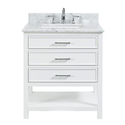 Allen Roth Presnell 31 In Dove White Single Sink Bathroom Vanity With Carrara White Na White Vanity Bathroom Single Sink Bathroom Vanity Bathroom Sink Vanity