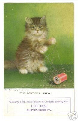Old Postcard Trade Card Corticelli Kitten 24920368 Cats Vintage Poster Art Cats And Kittens