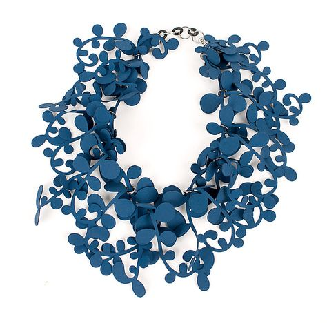 Marie Necklace by Kathleen Nowak Tucci. A showstopping statement piece! Lush vining tendrils are created from recycled rubber fabric - an unconventional medium with dramatic and elegant results.