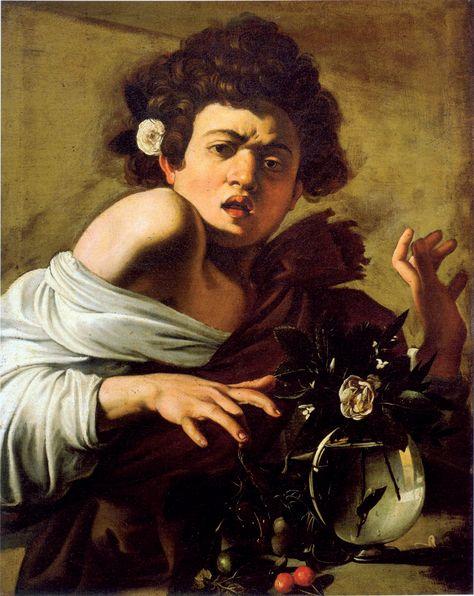 Boy Bitten by Lizard. Caravaggio. 1600. Oil on canvas. 65.8 x 52.3 cm.Fondazione Roberto Longhi. Florence.