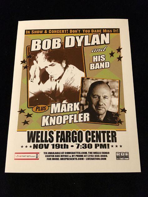 BOB DYLAN-MARK KNOPFLER-CONCERT FLYER/HANDBILL-WELLS FARGO CENTER-PHILADELPHIA