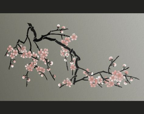 Japanese Cherry Blossoms Stencil Japanese Cherry Blossom Cherry Blossom Branch Stencils Wall