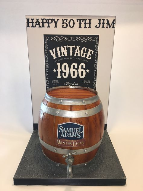 Sam Adams Beer Barrel Cake for 50th birthday.  It pours beer from the tap.