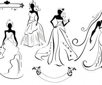 Wedding Dress Silhouettes Set With 4 Vector Bride Silhouettes In Wedding Dress Bride Dress Silhouette Vector Bride Silhouette Wedding Dress Silhouette