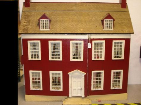 Large painted wooden dolls house, English circa 1900