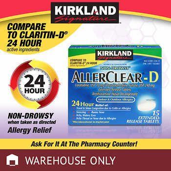 Kirkland Signature Allerclear D 24 Hour 15 Extended Release Tablets Claritin D Claritin Kirklands