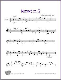 Minuet In G Bach Guitar Sheet Music Guitar Sheet Music