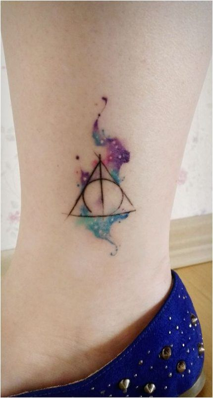Tattoo Ideas Watercolor Deathly Hallows 57 Ideas Harry Potter Tattoos Tattoos Harry Potter Tattoo Small