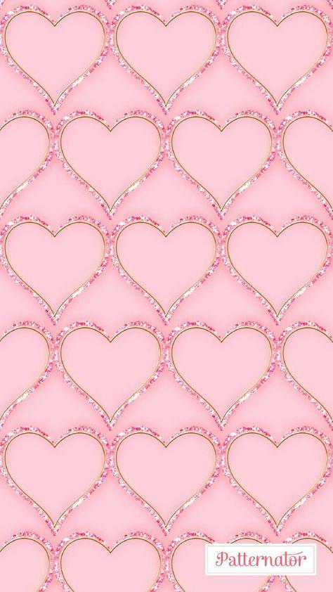 Pink Sparkly Bling HeartsWallpaper