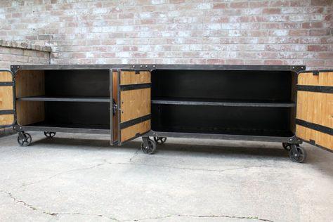 Credenza Industrial Fai Da Te : Industrial cabinet with casters entertainment center buffet