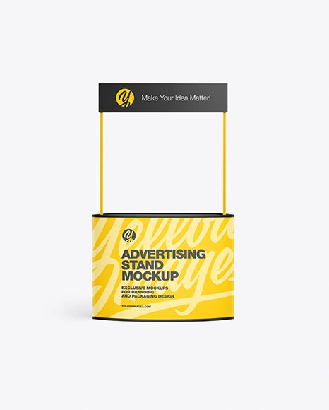 Advertising Stand Mockup In Indoor Advertising Mockups On Yellow Images Object Mockups Mockup Advertising Company Presentation