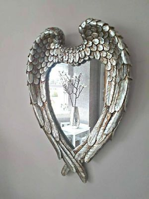 Small Antique Silver Angel Wings Mirror Shabby Chic Heart Ornate Wall Vanity Ebay Shabby Chic Hearts Wing Mirrors Shabby Chic Angel Wings