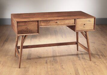 Rickey Solid Wood Desk In 2020 Solid Wood Desk Wood Desk Solid