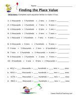 Place Value Worksheet - Thousands, Hundreds, Tens, Ones