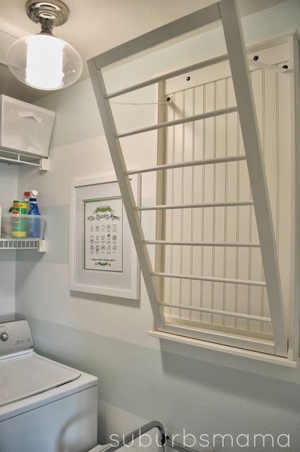 laundry room Wall mounted drying rack laundry Pinterest