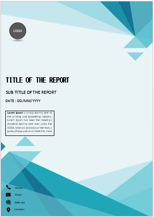 Cover Page Blue Triangles Cover Page Cover Pages In 2021 Book Cover Design Template Cover Page Template Word Cover Pages