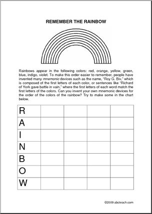 colors of the rainbow worksheet. mnemonic device: what is the order of colors in rainbow? (roy g. biv) | devices pinterest rainbow, and rainbow worksheet