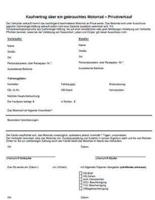 Kaufvertrag Motorrad Vorlage Angebotsschreiben Flugblatt Design Kaufvertrag