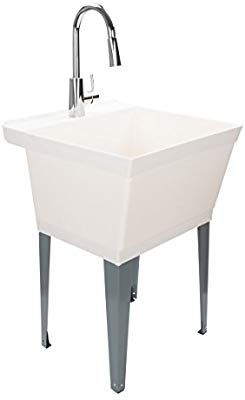 Laundry Sink Utility Tub With High Arc Chrome Kitchen Faucet By